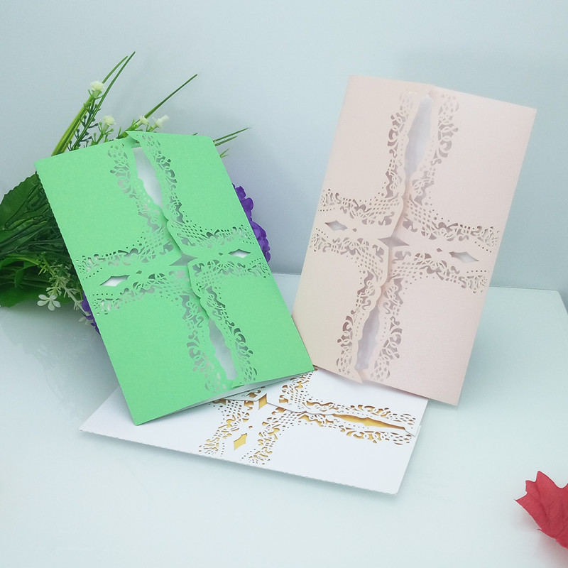 Brides Wedding Invitation Kit: 10pcs Laser Cut Carved Wedding Invitations Card Wedding