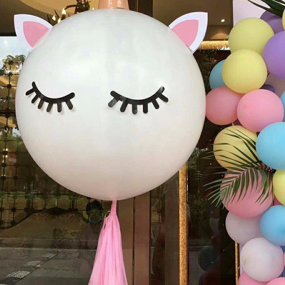 1 Kit unicornio partido globo DIY máscara ojos pegatinas Bobo globo ...