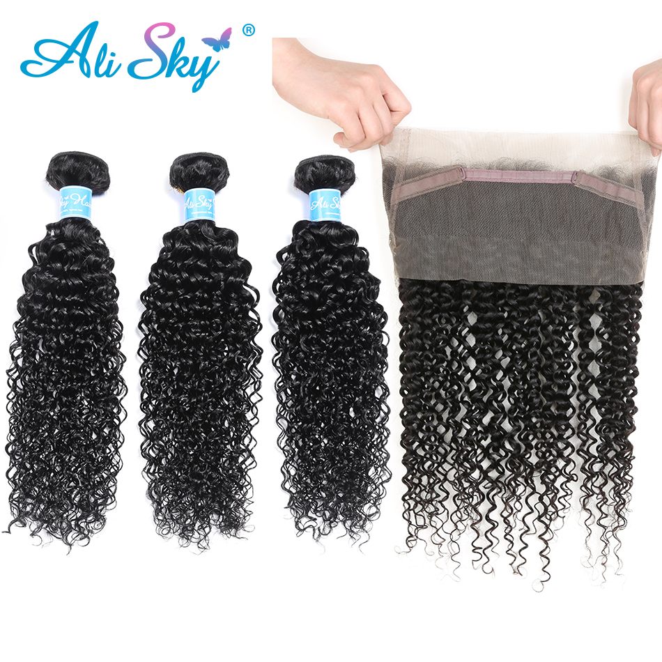 Alisky Hair Brazilian Kinky Curly Hair 3 Bundles With 360 Lace Frontal Natural Color 100 Human