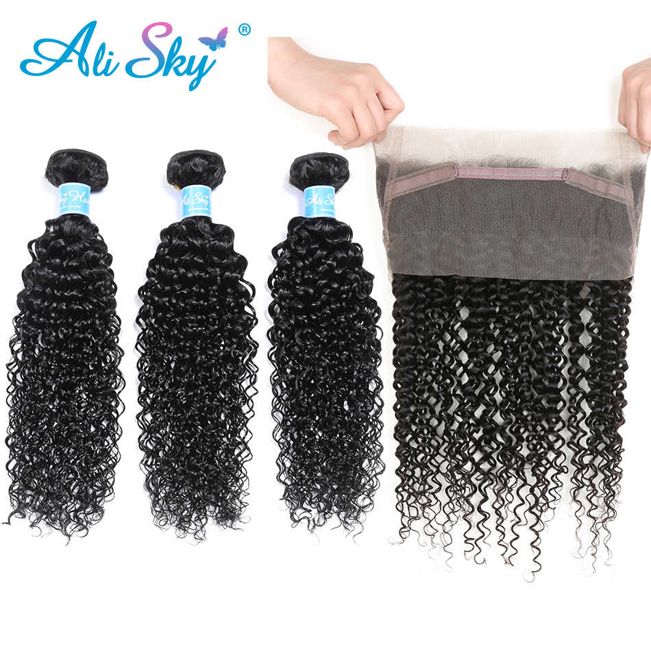 Alisky Hair Brazilian Kinky Curly Hair 3 Bundles With 360 Lace Frontal Natural Color 100% Human Hair With 360 Frontal Remy Hair