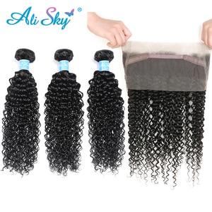 Бразильские кудрявые вьющиеся волосы Alisky, 3 пучка с 360 фронтальной шнуровкой натурального цвета, 100% человеческие волосы с 360 фронтальными во...