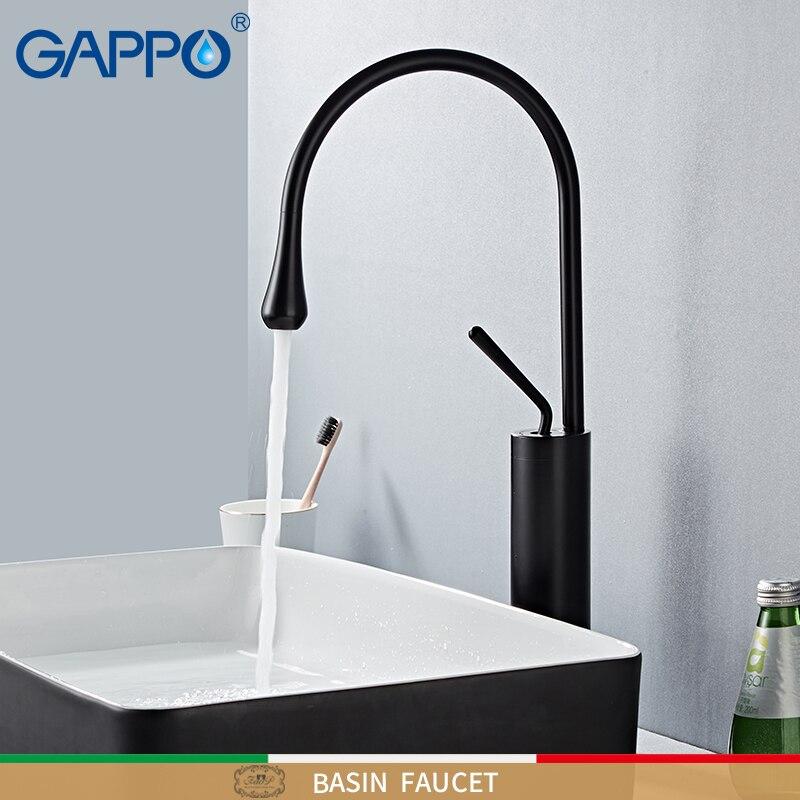 GAPPO смеситель для раковины, черный смеситель для ванной комнаты, смеситель для раковины, высокий кран, смеситель для водопада, кран для раков...