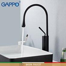 GAPPO havzası musluklar siyah banyo musluk banyo batarya uzun musluklar şelale mikser tek delik lavabo musluğu torneira