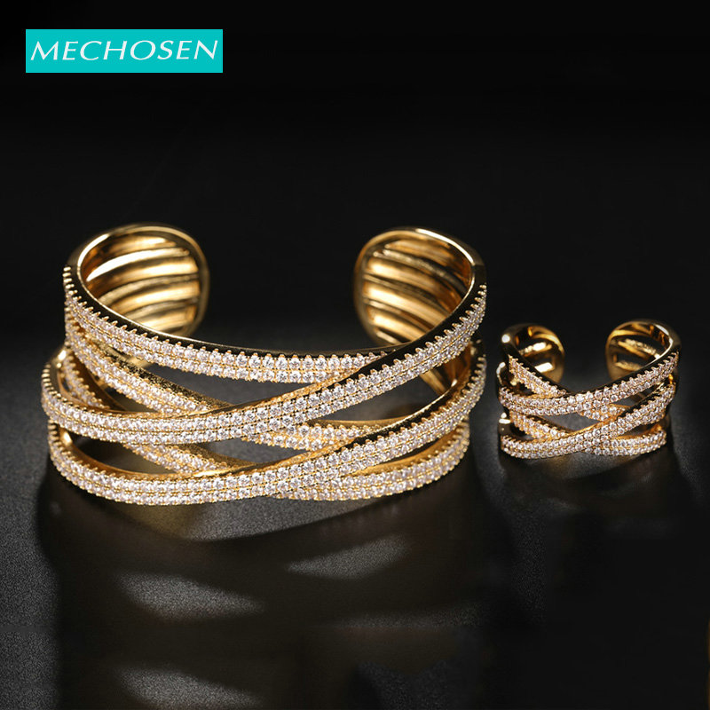 MECHOSEN Luxury Geometric Zircon Multi-Layer Design High Jewelry Set For Women's Wedding Party Hand Ring Bangle Accessories Gift