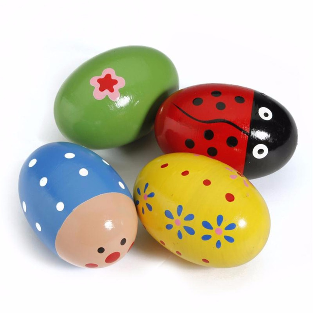 Colorful Wooden Egg Girl Baby Toy Music Shaker Instrument Music Teaching Percussion Maracas Well Designed Gift Free Shipping
