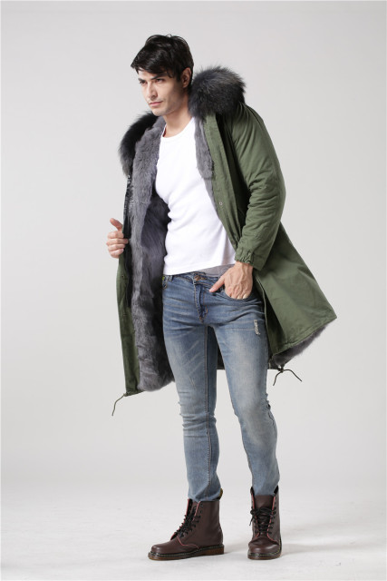 Italy design winter long style outerwear warm male Mr Mrs fur grey real raccoon fur collar coat mens hood fur parka