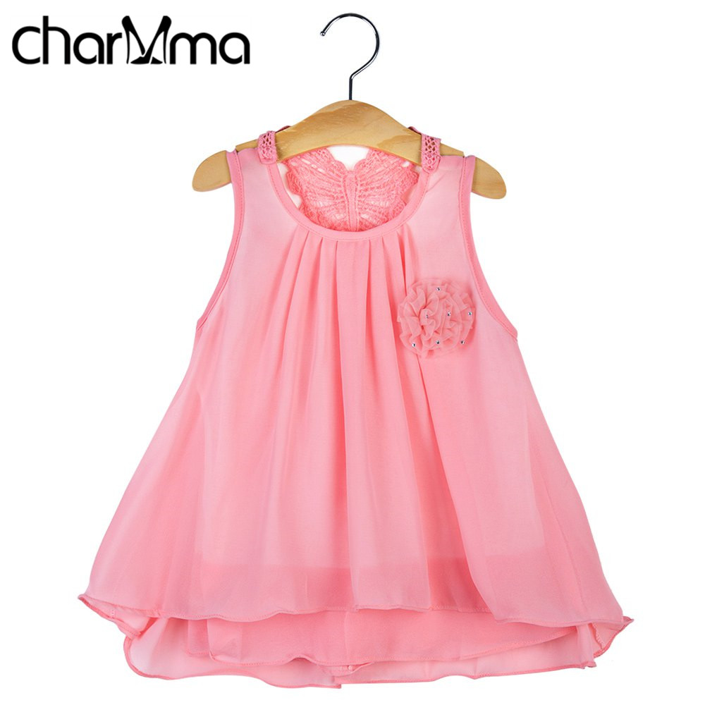 charMma Baby Summer Dress 2017 Kids Clothing Chiffon Girls Princess Dresses Sleeveless Flower Applique Infant Girl Party Dress