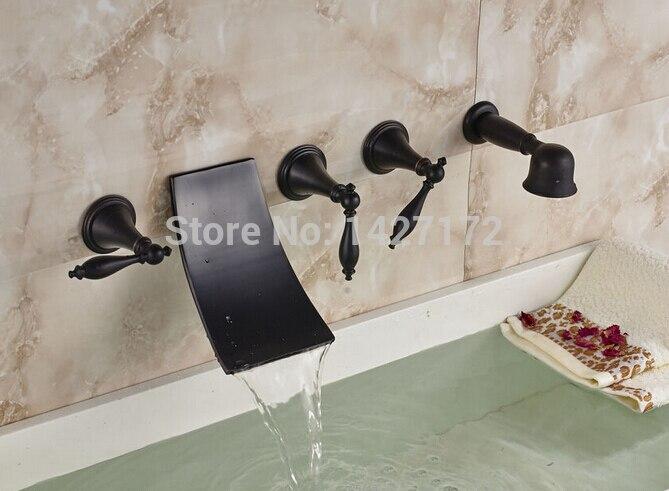 New Bathroom Luxury Wall Mounted Oil Rubbed Bronze Waterfall Bathtub
