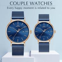 Luksusowa marka zegarki zestaw NAVIFORCE proste mody mężczyzna kobiet zegarek na rękę na co dzień wodoodporne mężczyzna panie para kwarcowy zegar