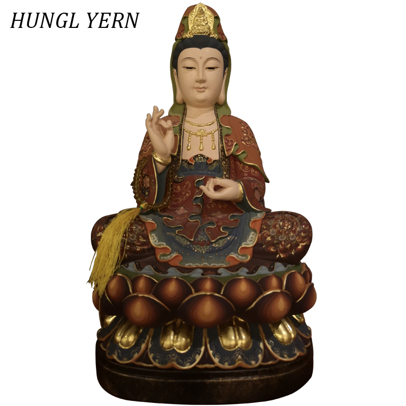 41cm chinese style Guan yin Buddha statue Wood sculpture carving escultura Retro Painting Handmade wooden guanyin Statues