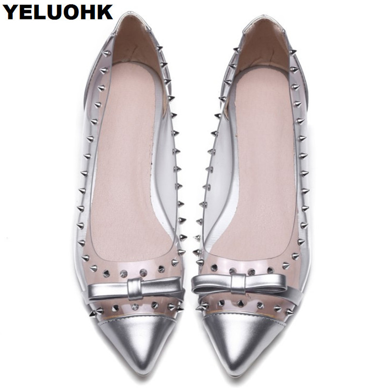 Large Size 43 Rivet Transparent Shoes Women Flats Fashion Pointed Toe Women Moccasins Casual Shoes Slip On Summer Shoes