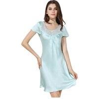 New 100% Silk Satin Women Nightgown Short Sleeves Nightdress Solid Color Elegant Ladies Sleepwear sp0043