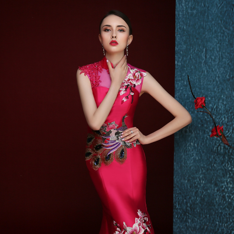 eba60d9b7 cheongsam chinese style long qipao red red mermaid wedding lace traditional  dresses for women evening 2016 high quality satin-in Cheongsams from  Novelty ...
