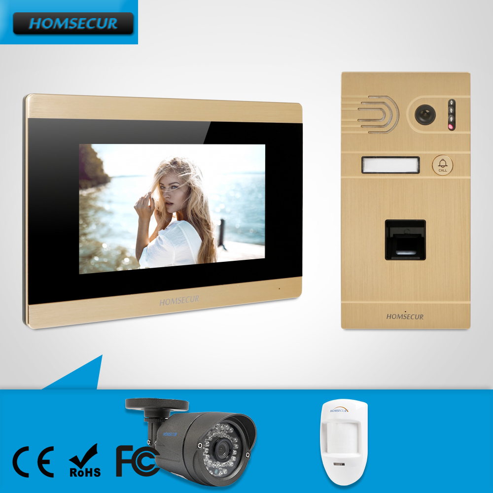 HOMSECUR 7 Wired Video Door Fingerprint Entry Phone Call System Aluminium Alloy Camera Touch Screen Memory Monitor CCTV CAM