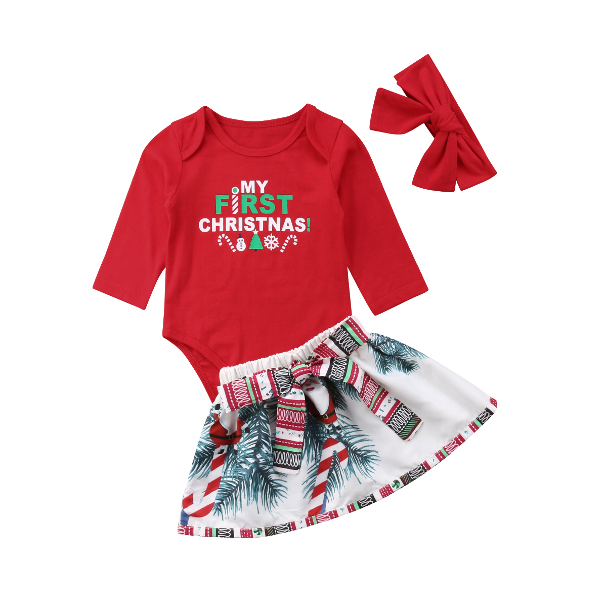 My First Christmas Newborn Baby Girl Long Sleeve Cotton Romper Tops+Snowman Print Bowknot Skirt Headband 3PCS Xmas Clothes Set wisefin baby christmas outfits long sleeve baby girl clothes set my first christmas girl cotton newborn bodysuit overalls skirts