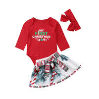 My First Christmas Newborn Baby Girl Long Sleeve Cotton Romper Tops+Snowman Print Bowknot Skirt Headband 3PCS Xmas Clothes Set