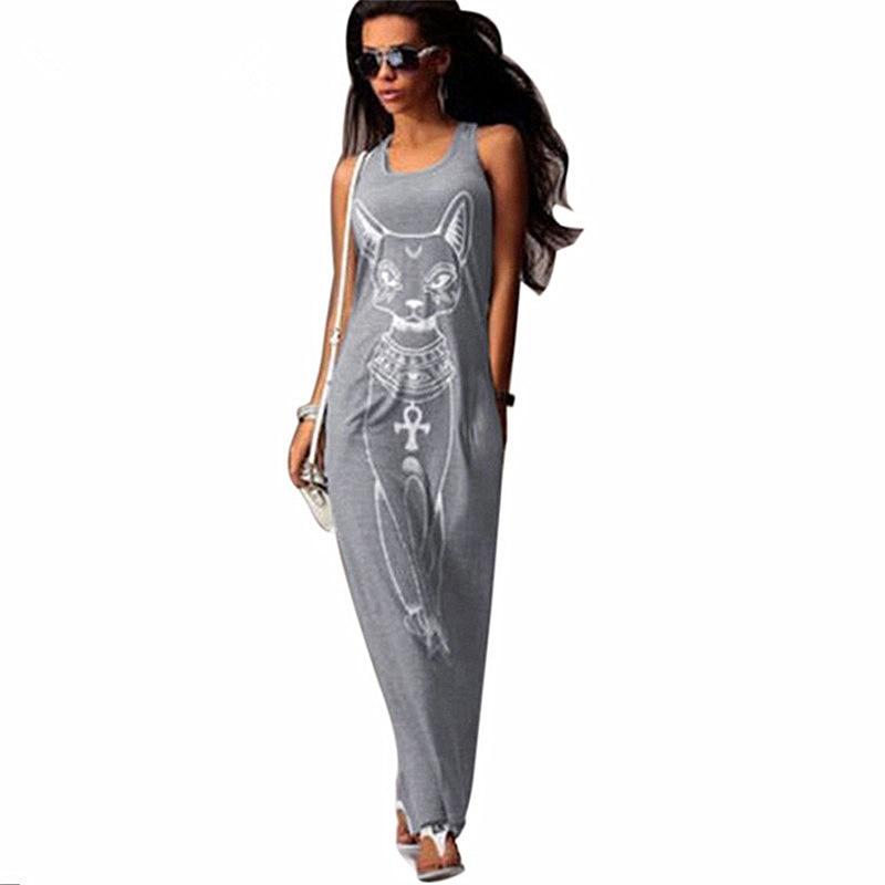 Katze Drucken Lange Maxi Kleid Frauen 2017 Sommer Boho Strand Bodycon Kleid Elegante Abend Party Kleider Tunika Vestidos S-XL