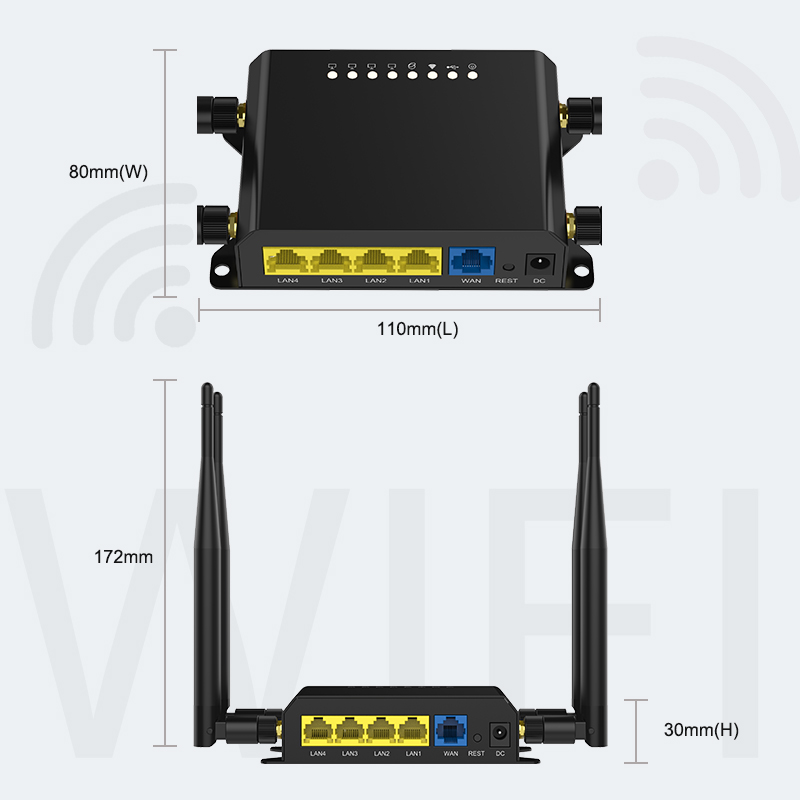 M2m 3g 4g Lte 12v Wireless Modem or Wifi Router With Sim Card Slot and Firewall with 300Mbps  speed 128MB 5