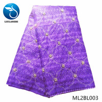 LIULANZHI African wax fabrics purple batik fabric 100%Cotton New design wax fabric with beads/stones 6yards ML2BL001 ML2BL008