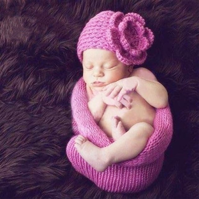 Newborn Baby Sleeping Bag With Hats Set Design For Newborn Photography Props Handmade Knitting Infant Baby Photography Costume