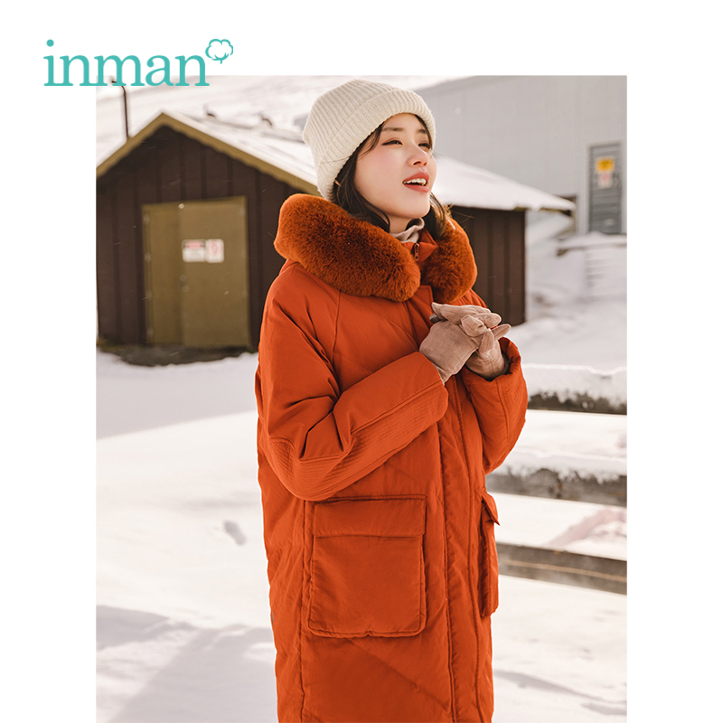 INMAN Winter New Arrival Female Funny Print Long Section Fashion Warm Women   Down     Coat
