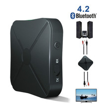 Vacusg 2 in 1 Wireless Bluetooth 4.2 Audio Receiver Transmitter Car Music MP3 Adapter With 3.5mm AUX Audio For TV Speaker biurlink wireless bluetooth module aux in audio mp3 music adapter 12pin connector for vw for skoda