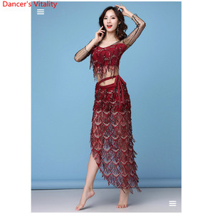Image 3 - New Fashion Womens Clothing Belly Dance Elastic Sequin Mesh Sparkling Over Skirt Fringed Scarf Hip Costume Set 2pcs top & Belt