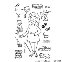 AZSG Ordinary Woman Lovely Cat Transparent Silicone Stamp For DIY Scrapbooking Decorative Card Making Clear Stamps Supplies