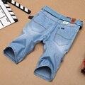 De marca Para Hombre Ligero Denim Jean Shorts Azul Corta Más El Tamaño de Los Pantalones Vaqueros para Los Hombres de Verano Para Hombre Pantalones Cortos pantalones
