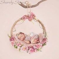 Новорожденных подставки для фотографий Цветочная висячая корзина маленьких девочек фото для студийной съемки позирует имитировать цветок