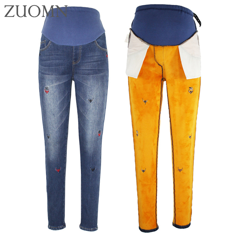 Winter Jeans For Pregnant Women Velour Maternity Denim Pants Pregnancy Elastic Leggings Winter Trousers For Pregnant Women Y795