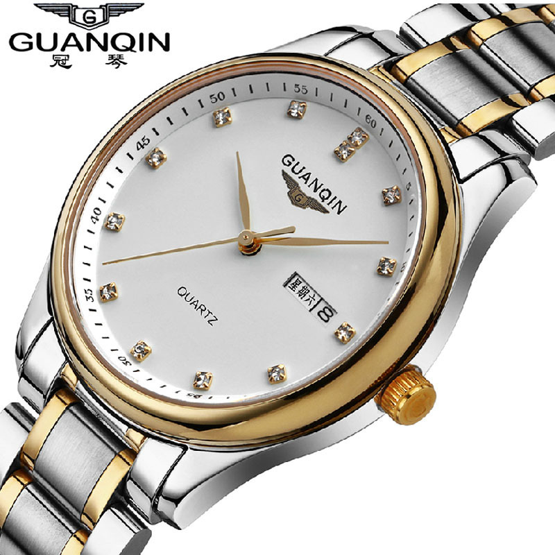 ФОТО Men Watch GUANQIN Brand Quartz-Watch Stainless Steel Watch Strap Waterproof Relogio Masculino 2016 Montre Homme China Watch New