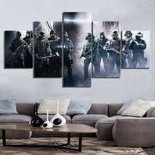 Hd Print Modular Poster Canvas Painting 5 Panel Rainbow Six Siege Soldiers Wall Art Home Decoration Modern Picture For Boy Room(China)
