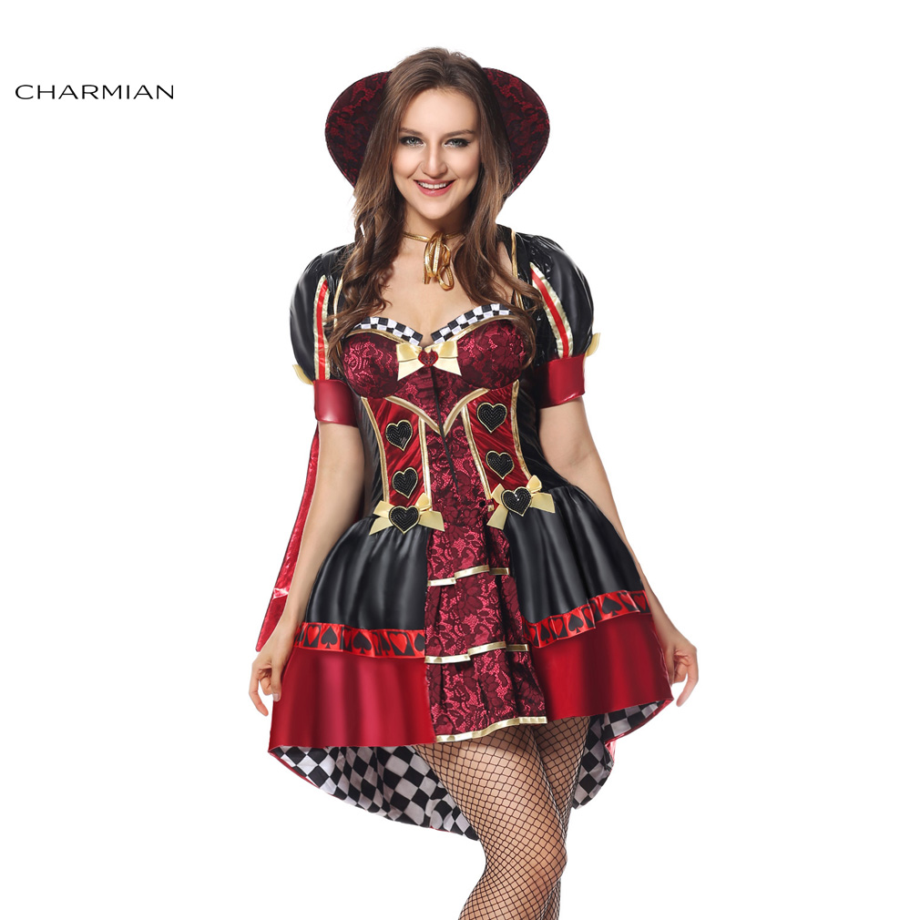 charmian halloween costume for women wonderland red queen of hearts carnival party fantasias cosplay costume with - Cheap Halloween Dresses