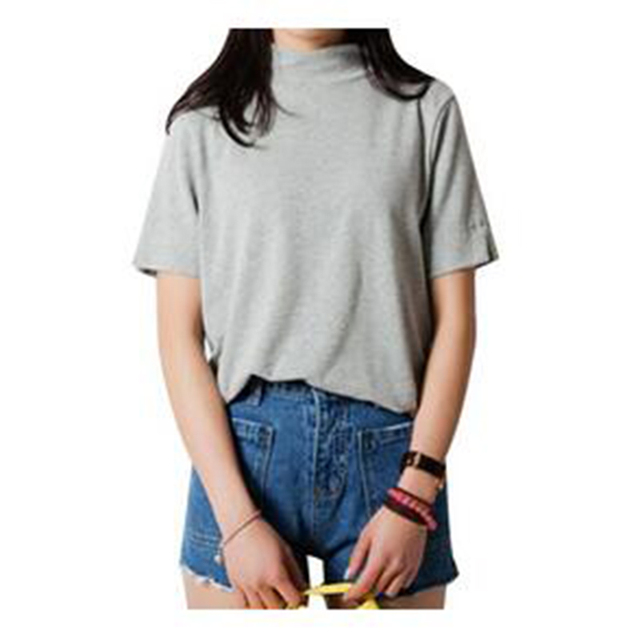 2017 New Summer Women T-Shirt Short Candy ColorStyle Casual Stand Collar  Crop Top Bottoming 6fcf8978b77e