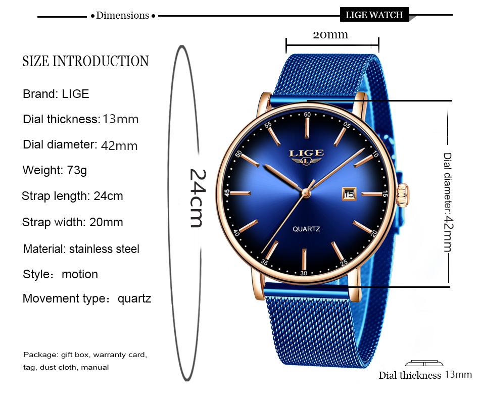 HTB1YdaJawFY.1VjSZFqq6ydbXXaW LIGE Fashion Mens Watches Top Brand Luxury Blue Waterproof Watches Ultra Thin Date Simple Casual Quartz Watch Men Sports Clock