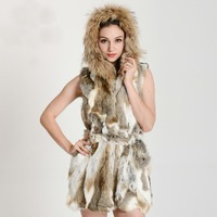 New Ladies Rabbit Fur Vest Vests Real Natural Rabbit Vest Waistcoat Fur With Hood Designer Free Shipping DFP326
