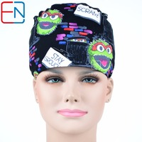 Blue Medical Scrub Cap In Cute Cat Pattern For Ladies With Long Hair