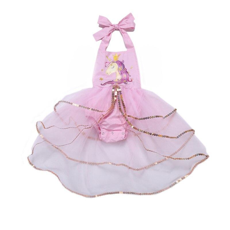 5134 Pre order Cartoon Unicorn Pattern Sequins Princess Brithday Party Toddler Girls Dress Tutu Summer Kids