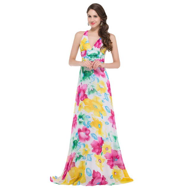 Free Shipping Grace Karin V-Neck Long Floral Print Dress Cross Back Flower  Pattern Evening Dresses Pretty Formal Gown GK000020 53dff5b68de1