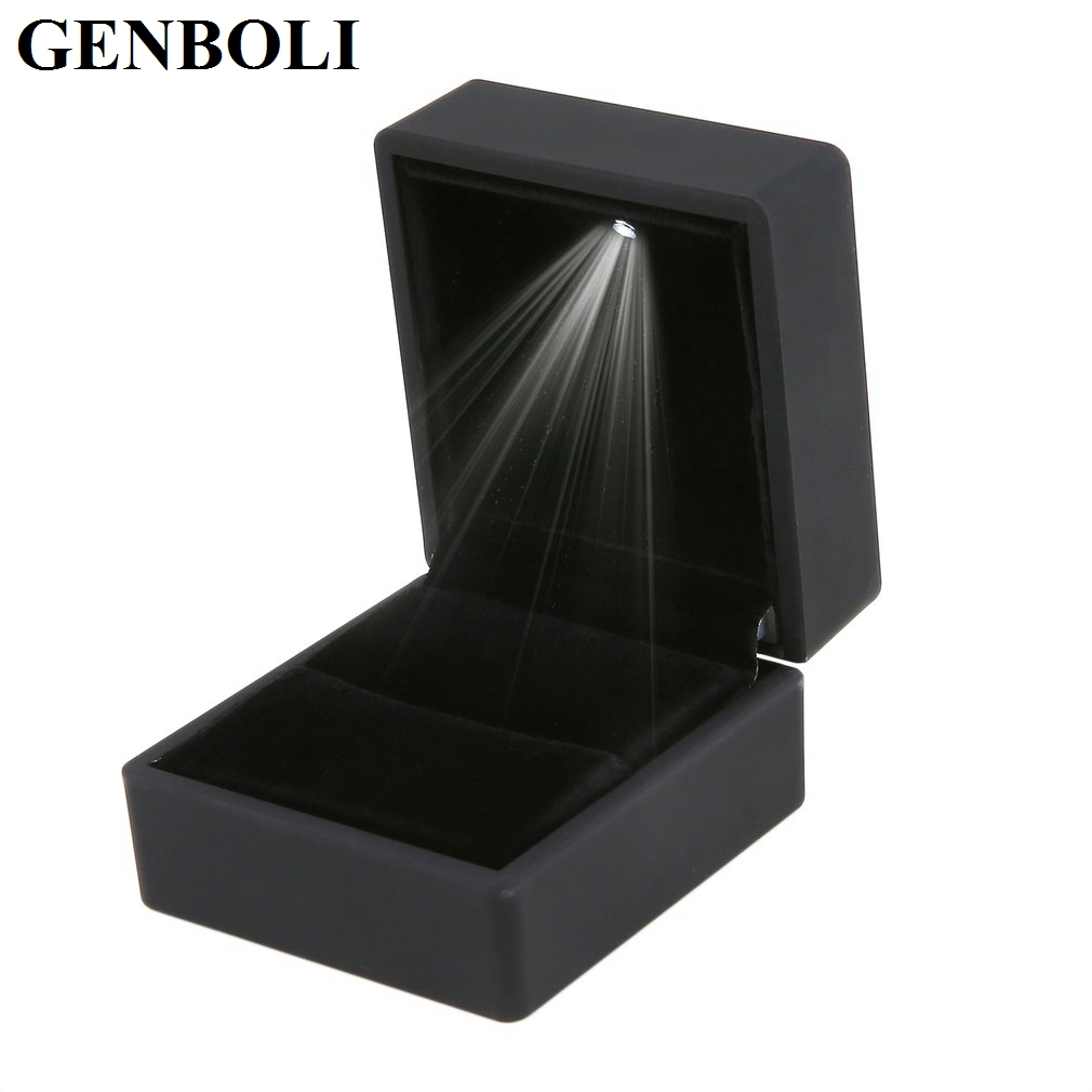 LED Lighted Ring Box Gift Box Organizer Storage Earring Packaging For Wedding Ring Case Jewelry Display Black/Blue