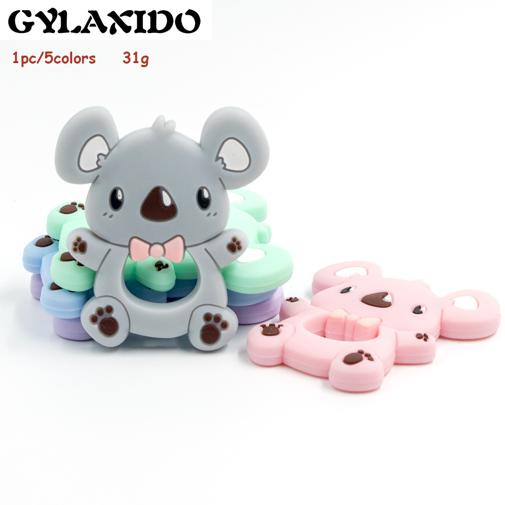 1PC Silicone Teether Animal Grey Koala Bead Food Grade BPA Free For Baby Teething Chew Charms Silicone Teether Bead Toy Gift