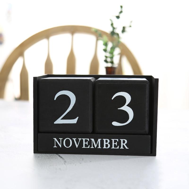 Hot Sale Vintage Wooden Perpetual Desk Calendar Block Planner