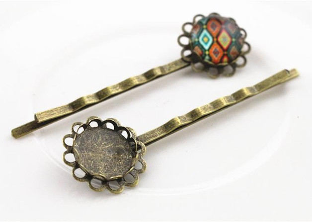 Hair-Clips Base-Setting Cabochon Bronze-Plated Copper-Material 12mm 10pcs Cameo-J6-08