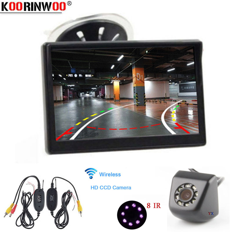 Koorinwoo 2.4G Wireless Parking Assistance Intelligent Dynamic Trajectory Reverse Camera 5  LCD Display Monitor Security System
