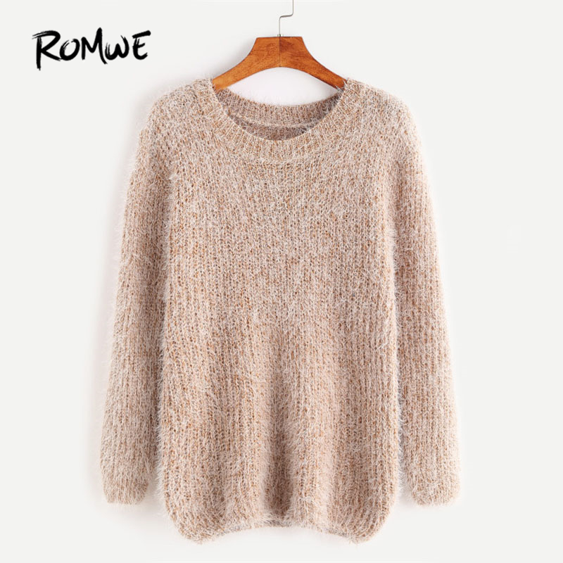 ROMWE Fuzzy Chunky Knit Casual Sweater Khaki Round Neck Plain Women Clothes  Regular Fit Long Sleeve b491d09dd