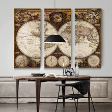 3 Panel Wall Art Canvas World Map Restoring Ancient Ways Picture Painting Home Decoration Print Unframed PR1242
