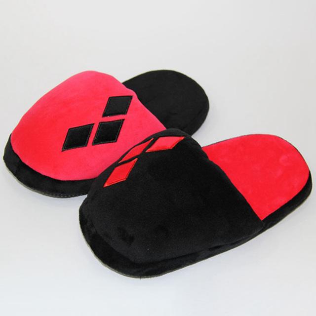 Novos Chinelos De Pelúcia do Esquadrão Suicida Harley Quinn DC Shoes Sapatos Casa Sapatos de Inverno Chinelos de Pelúcia Macia de Pelúcia 28 cm Tornozeleiras
