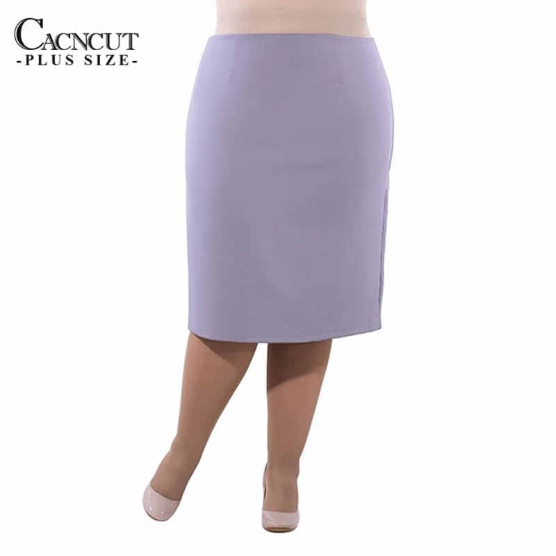 Cacncut 2018 ビッグサイズオフィスレディーススカート 5xl 6xlプラスサイズハイウエストペンシルスカート夏ボディコンスリムスプリットスカート女性のための