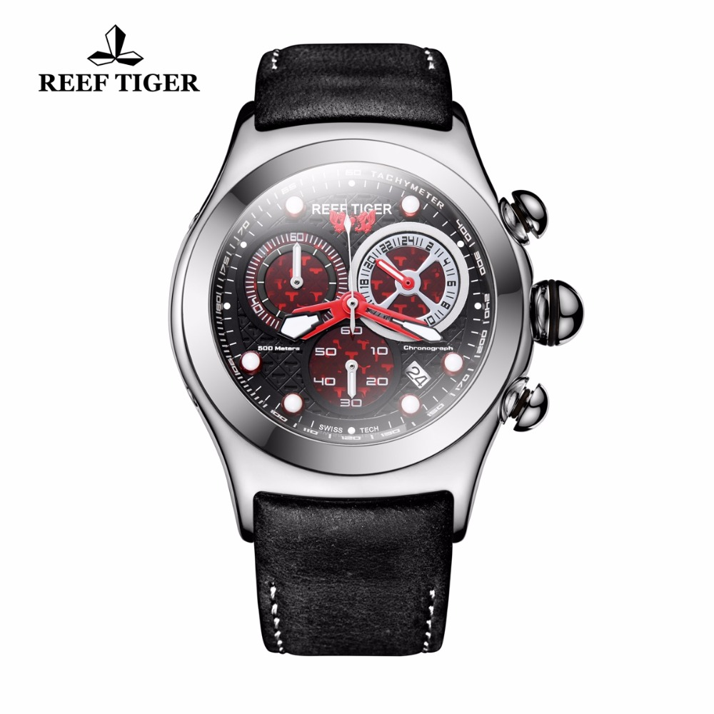 2019 Reef Tiger/RT Military Watches for Men 316L Steel Case Skeleton Dial Quartz Watches RGA782 image